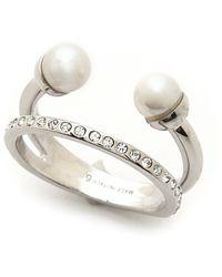 Vita Fede Ultra Mini Double Pearl Ring - Silverpearl - Lyst