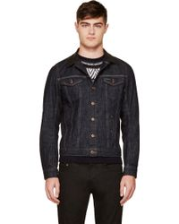 Diesel Blue and Black Leather_trimmed Elshar Jacket - Lyst