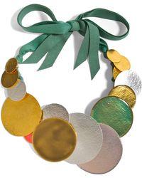 Herve Van Der Straeten Hammered Multicolored Gold-Plated Necklace - Lyst
