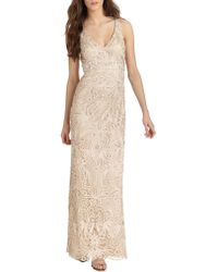 Sue Wong Beaded Soutache Gown beige - Lyst