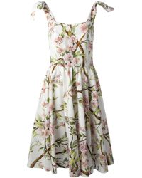 Dolce & Gabbana Flared Floral Print Dress - Lyst
