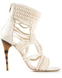 Balmain Braided Sandals - Lyst