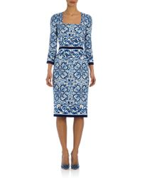 Dolce & Gabbana Tile-Print Stretch-Silk Charmeuse Dress blue - Lyst