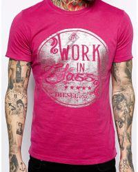 Diesel Pink Logo T-shirt - Lyst