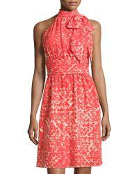 Cynthia Steffe Meera Sleeveless Printed Tie-Neck Dress - Lyst