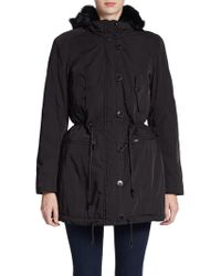 Marc New York By Andrew Marc Faux Fur Trimmed Anorack Jacket - Lyst