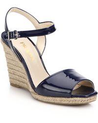 Prada Patent Leather Espadrille Wedge Sandals - Lyst