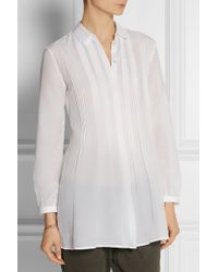 Burberry Brit - Pleated Cotton And Silk-Blend Tunic - Lyst