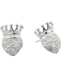 King Baby Studio Crowned Heart Post Earring Pave Cz - Lyst