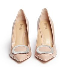 Michael Kors | 'pauline' Logo Plaque Patent Leather Pumps | Lyst