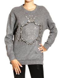 Versace Sweater Wool Fleece Crewneck with Medusa and Strass - Lyst