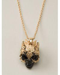 Alexander McQueen Skull Pendant Necklace - Lyst