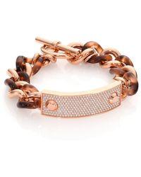 Michael Kors Blush Tortoise-Print PavÉ Plaque Chain Bracelet - Lyst