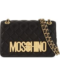 Moschino Quilted Leather Logo Shoulder Bag - Lyst