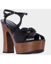 "Saint Laurent Black Leather And Wood ""Candy Bow 80"" Shoes - Lyst"
