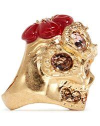 Alexander McQueen Crystal Skull Flower Ring - Lyst