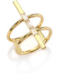 Elizabeth And James Riley White Sapphire Caged Ring gold - Lyst