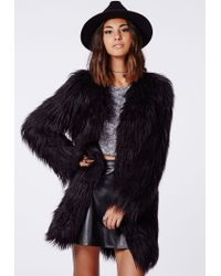 Missguided Cloe Faux Gorilla Fur Coat Black - Lyst