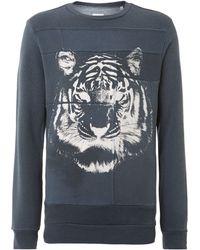 Diesel Tiger Print Crew Neck Applique Sweatshirt - Lyst