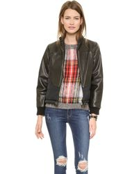 Sea Leather Puff Bomber  - Lyst