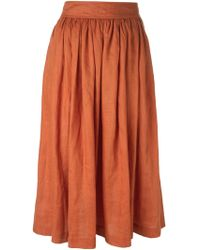 Yves Saint Laurent Vintage Flared Buttoned Skirt yellow - Lyst