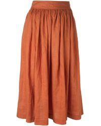 Yves Saint Laurent Vintage Flared Buttoned Skirt - Lyst