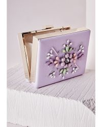 Missguided Statement Sequin Cluster Box Clutch Lilac - Lyst