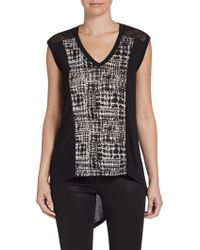 BCBGMAXAZRIA Houndstoothpaneled Hilo Top - Lyst