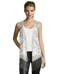 Haute Hippie Swan Embellished Fringe Silk Vest - Lyst