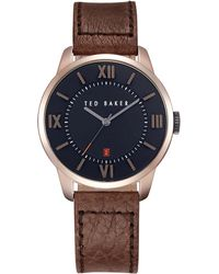 Ted Baker Mens Rose Gold Tone and Textured Leather Watch - Lyst