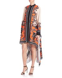 Issa | Hi-lo Printed Silk Crepe Dress | Lyst