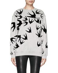 McQ by Alexander McQueen Velvet Flock Swallow Cotton Sweatshirt - Lyst