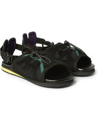 Kolor - Leather And Mesh Sandals - Lyst