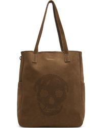 Alexander McQueen Olive Drab Suede Perforated Skull Tote - Lyst
