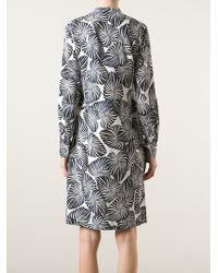 Paul Smith Leaf-Print Silk Shirt Dress - Lyst