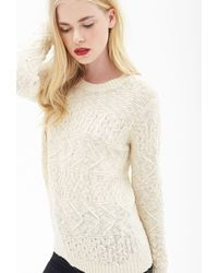 Forever 21 Cable Knit Sweater - Lyst