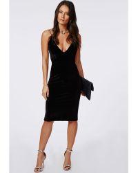 Missguided Cheyanne Velvet Strappy Midi Dress Black - Lyst