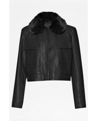 French Connection | Cali Croc Faux Leather Jacket | Lyst