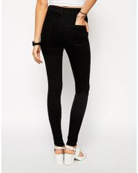Asos Ridley High Waist Ultra Skinny Jeans In Clean Black - Lyst