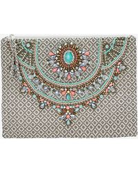 Star Mela Arla Embellished Zip Clutch - Lyst