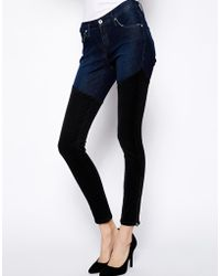James Jeans Twiggy Skinny Jeans with Black Thigh High Detail - Lyst