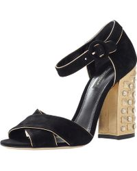 Dolce & Gabbana Sandal With Gold Heel - Lyst