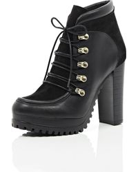 River Island Black Leather and Suede Heeled Ankle Boots - Lyst