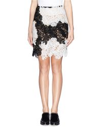Erdem Riin Colourblock Floral Guipure Lace Panel Skirt - Lyst