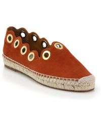 Chloé Grommet Scalloped Suede Espadrilles brown - Lyst