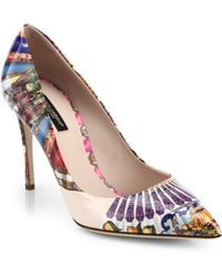Dolce & Gabbana Printed Patent Leather Point Toe Pumps - Lyst