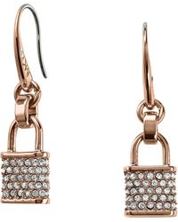 Michael Kors Pave Padlock Drop Earrings - Lyst