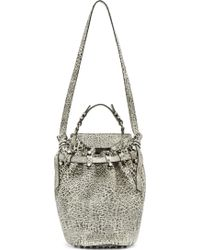 Alexander Wang White And Black Spotted Leather Diego Bucket Bag - Lyst