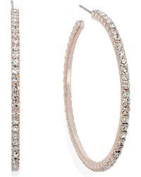Inc International Concepts Rose Gold-Tone Crystal Pavé Hoop Earrings - Lyst