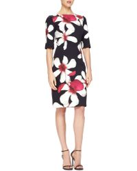 Carolina Herrera Magnolia-Print Jersey Sheath Dress - Lyst